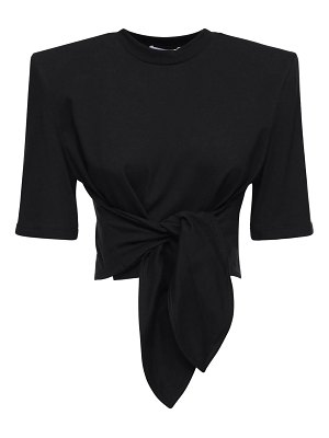 The Attico Jersey crop t-shirt w/padded shoulders