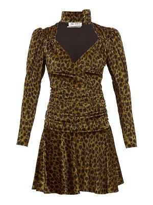 The Attico leopard-print velvet mini dress