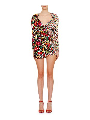 The Attico Long-Sleeve Mixed-Print V-Neck Mini Dress