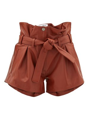 The Attico pleated high-rise leather shorts