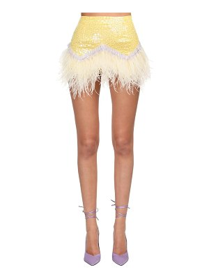The Attico Sequined mini skirt w/ ostrich feathers