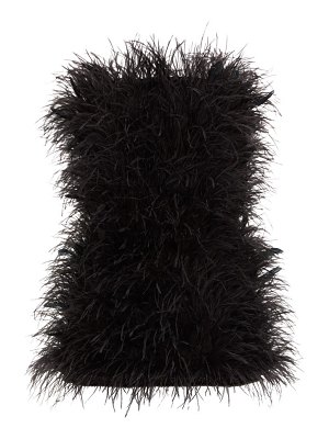 The Attico strapless ostrich-feather mini dress