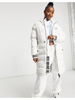 The Couture Club contrast signature longline padded jacket in cream