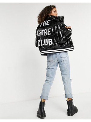 The Couture Club logo detail velvet cropped padded jacket in black-multi