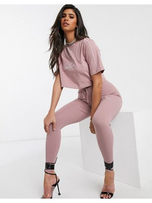 The Couture Club motif cropped t-shirt in pink
