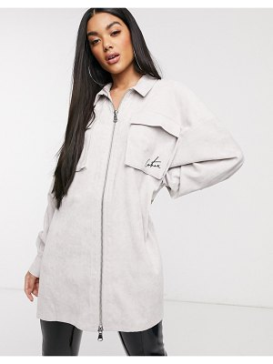 The Couture Club oversized motif shirt dress in gray