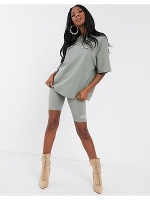 The Couture Club oversized motif t shirt in khaki-green