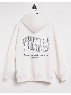The Couture Club oversized slogan hoodie in off white