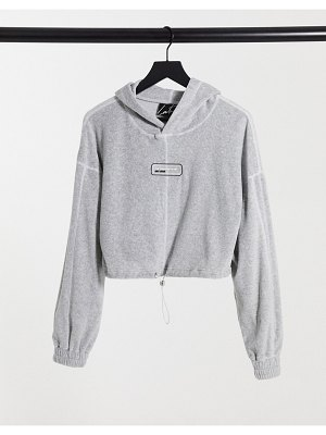 The Couture Club velour hoodie in gray-grey