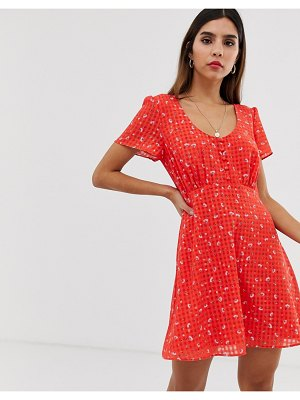 THE EAST ORDER aggy floral mini dress with button detail-red