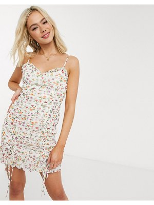 THE EAST ORDER gina floral mini dress in floral oasis-white