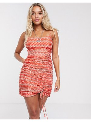 THE EAST ORDER liliana ruched printed mini dress-red