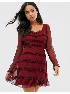 THE EAST ORDER lucien frill mini dress-red