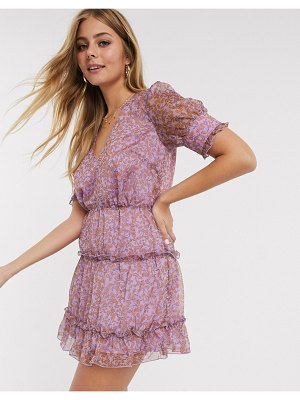 THE EAST ORDER talan printed tiered mini dress in violet meadows-purple