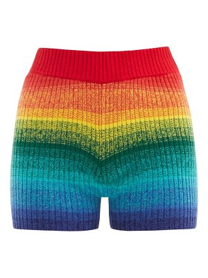 The Elder Statesman morph striped ribbed-cashmere cycling shorts