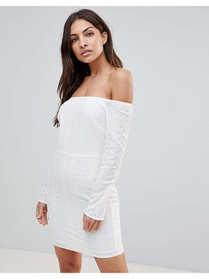The English Factory long sleeve off shoulder embroidered dress-white