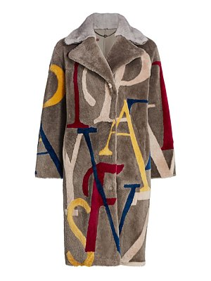 The Fur Salon letters shearling & mink fur-collar coat