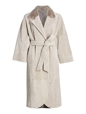 The Fur Salon reversible shearling belted mink fur-collar coat