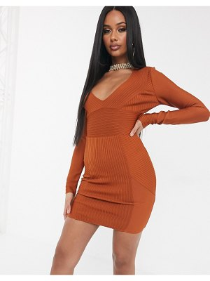 The Girlcode bandage long sleeve ribbed bodycon dress in tan-brown