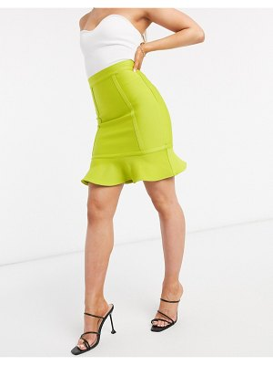 The Girlcode bandage mini skirt two-piece in lime-green