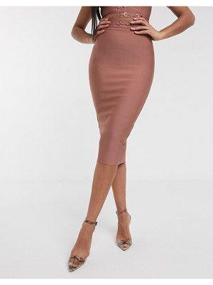 The Girlcode bandage pencil skirt with ring detail coord in rose tan-brown
