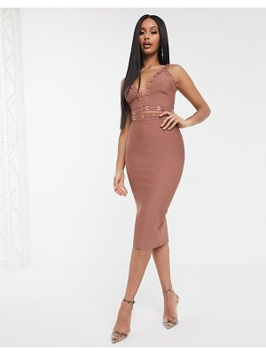 The Girlcode bandage plunge front crop top with ring detail coord in rose tan-brown