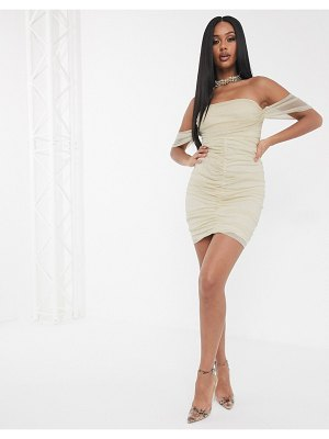The Girlcode off shoulder ruched mini bodycon dress in gold
