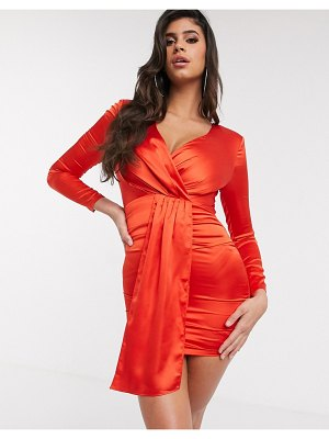 The Girlcode satin mini dress with drape front in red