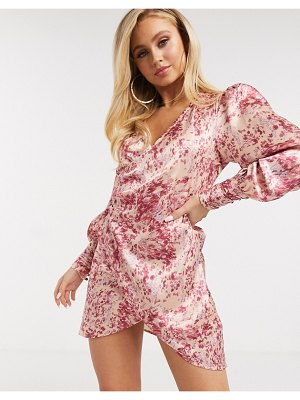 The Girlcode satin wrap front mini dress in pink floral-multi