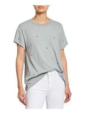 The Great The Boxy Crew Short-Sleeve Tee with Multi Poppy Embroidery