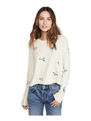 The Great the crop tee with floral embroidery