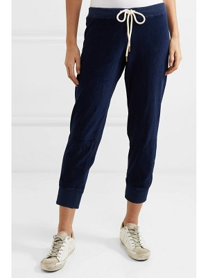 The Great the cropped cotton-blend velour track pants
