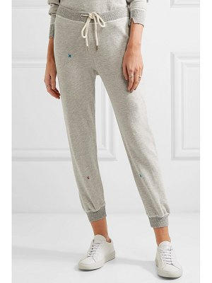 The Great the cropped embroidered cotton-blend jersey track pants