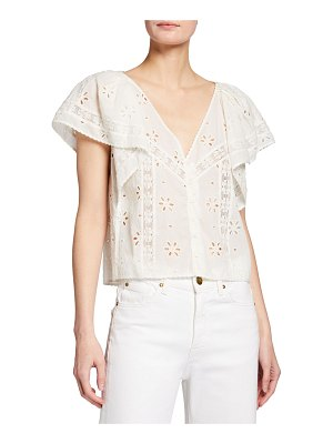The Great The Eyelet Flounce Top