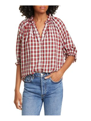 The Great the gather plaid cotton top