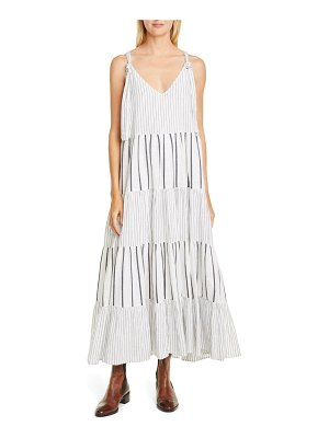 The Great the glen stripe tiered maxi dress