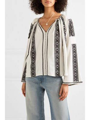 The Great the journey embroidered cotton-gauze top