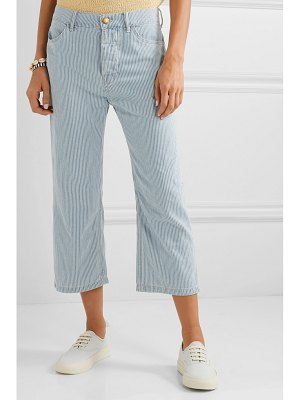 The Great the railroad cropped striped low-rise straight-leg jeans