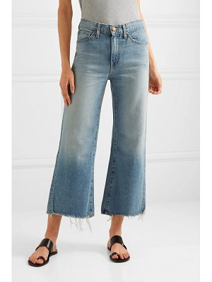The Great the rider cropped frayed high-rise wide-leg jeans