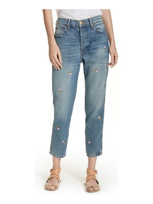 The Great the rigid fellow floral embroidered jeans