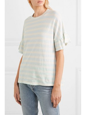 The Great the ruffle striped cotton-jersey t-shirt