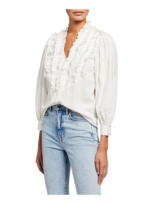 The Great The Tuxedo Button-Up Ruffle Top