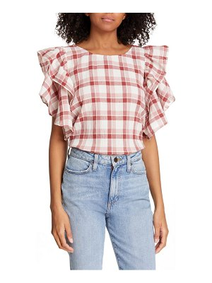 The Great whisper check cotton & linen top