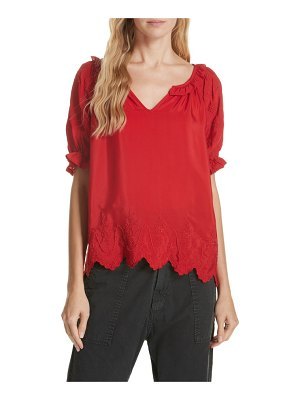 The Great wish embroidered silk top
