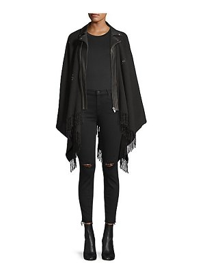 The Kooples wool & leather fringed moto poncho