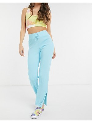 The Kript high waisted knitted pants with split hem co-ord-blue