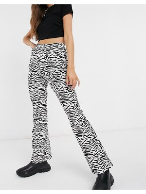 The Kript high wasted fitted straight leg pants in zebra-multi