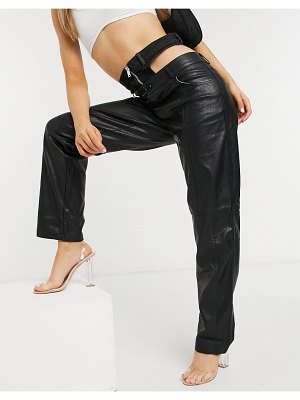 The Kript straight leg pants in faux leather with zip waist detail-black