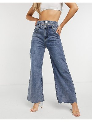 The Kript wide leg jeans with double waistband in vintage wash-blues
