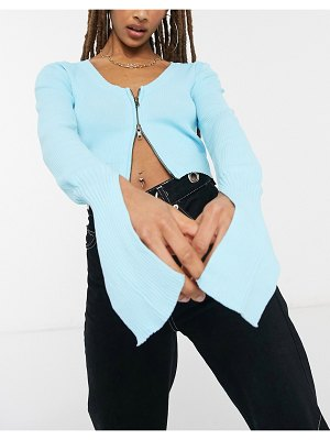 The Kript zip front knitted crop cardigan co-ord-blue